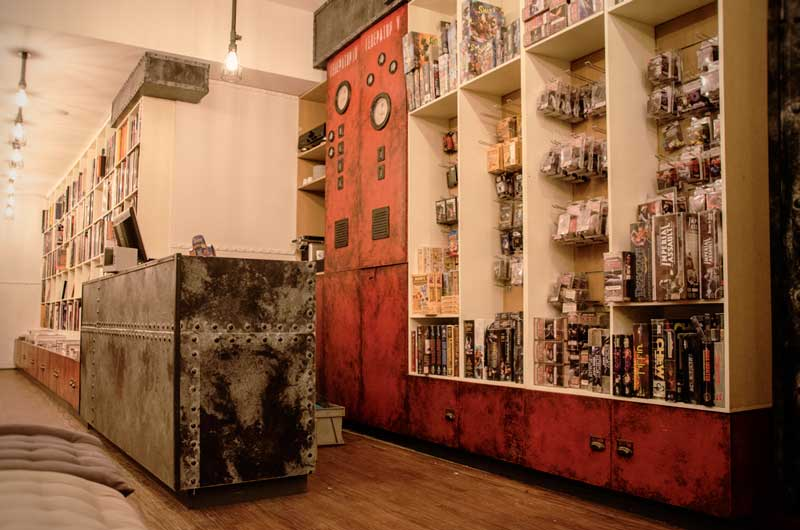 comic store steampunk industrial theming